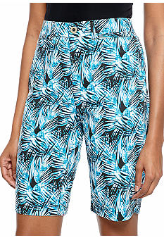 Kim Rogers Slim and Trim Palm Tree Printed Bermuda Short