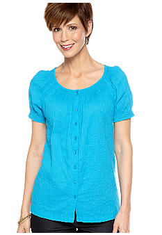 Kim Rogers Short Sleeve Crew Neck Peasant Shirt