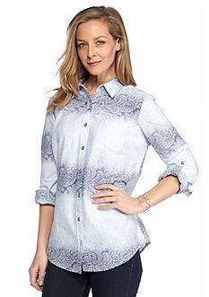 Kim Rogers Roll Sleeve Ombre Paisley Shirt