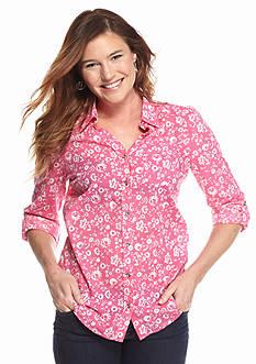 Kim Rogers Roll Sleeve Shadow Stripe Floral Print Top