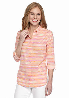 Kim Rogers Linen Neon Striped Shirt