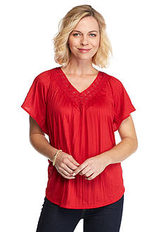 Kim Rogers Lace Yoke Crinkle Peasant Top