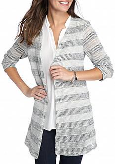 Kim Rogers Textured Striped Cardigan