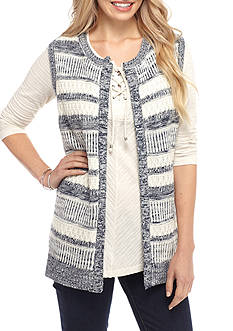 Kim Rogers Novelty stitch open front sweater vest