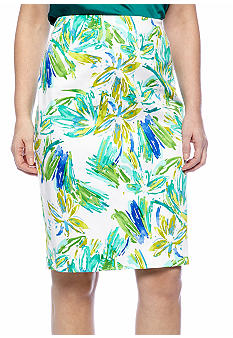 Sunny Leigh Paint Stroke Floral Print Pencil Skirt