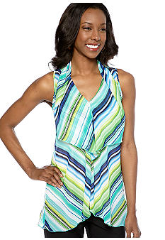 Sunny Leigh Striped Drape Neck Blouse