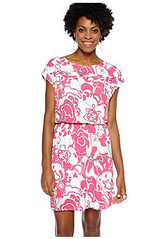 Sunny Leigh Pleat Front Printed Dress