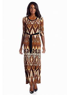 Sunny Leigh Elbow Diamond Leopard Maxi Dress