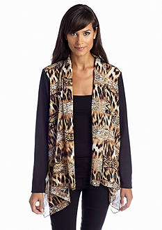 Sunny Leigh Open Front Print Cardigan