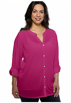 Kim Rogers Plus Size Button Front Roll Tab Sleeve Knit Top