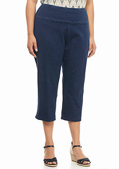 Kim Rogers Plus Size Stretch Jersey Denim Capris