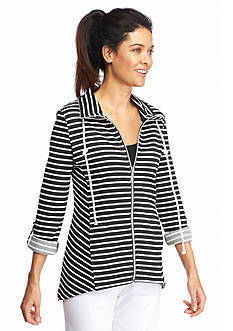 Kim Rogers Petite Striped Shark-Bite Jacket