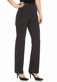 Kim Rogers Petite Straight Polka Dot Pull On Pants