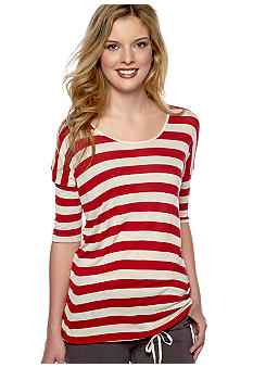 Kensie Stripe Tie Waist Knit Top