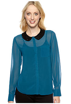 Kensie Embellished Peter Pan Blouse