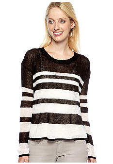 Kensie Scoop Neck Stripe Sweater