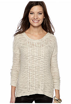 Kensie Cable Front Lurex Sweater