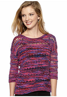 Kensie Space Dye Open Weave Sweater