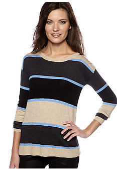 Kensie Stripe Pullover Sweater