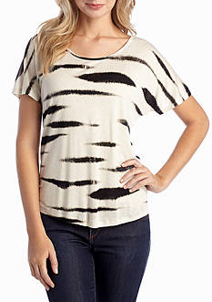 kensie Animal Stripe Dolman Tee