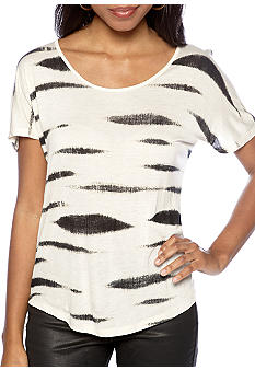 Kensie Abstract Animal Stripe Tee
