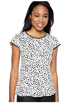 Kensie Double Dot Peplum Blouse