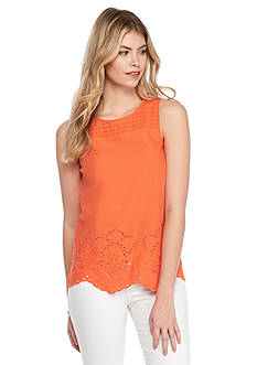 Kensie Eyelet Sleeveless Top