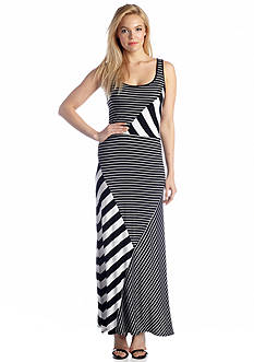 Kensie Diagonal Stripe Maxi Dress