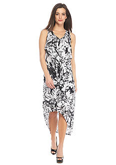 Kensie Print High Low Ruffle Dress