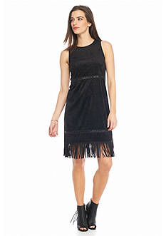 Kensie Faux Suede Fringe Dress