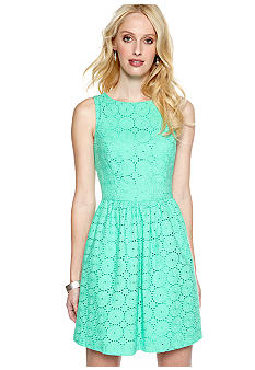 Kensie Embroidered Eyelet Dress