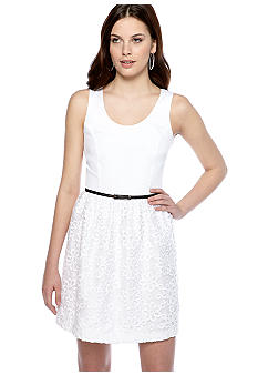 Kensie Embellished Eyelet Daisy Dress