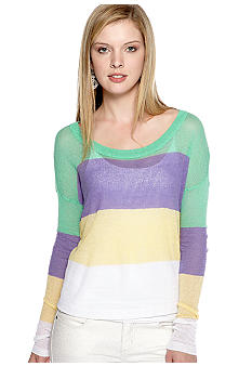 Kensie Thin Twisty Knit Stripe Pullover Sweater