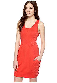 Kensie Sleeveless Drapey French Terry Dress