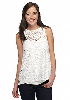 kensie Lace Split Back Tank