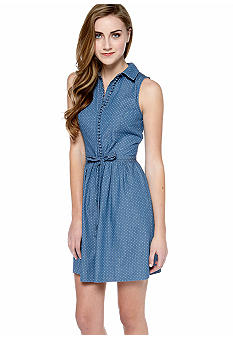 Kensie Polka Dot Chambray Shirt Dress
