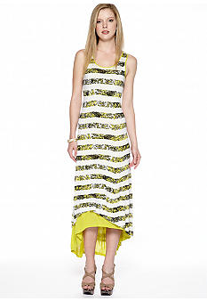 Kensie Crackle Stripe Hi Lo Maxi Dress