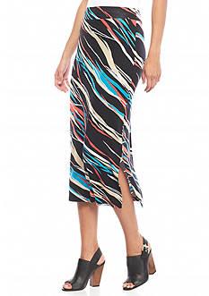 kensie Printed Midi Skirt