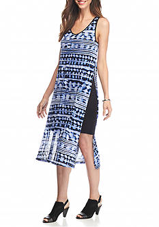 kensie Printed High Slit Midi Dress