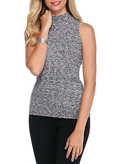 kensie Ribbed Mock Neck Tank