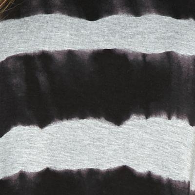 Contemporary: Tops: Heather Gray Combo Kensie Watermark Stripe Angled Hem Top