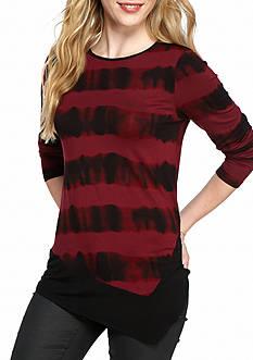 Kensie Watermark Stripe Angled Hem Top