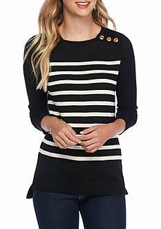 Kensie Striped Button Shoulder Sweater