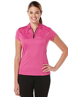 PGA TOUR Solid Front Zip Polo