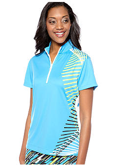 Pro Tour Half Zip Mock Neck Placement Print Top