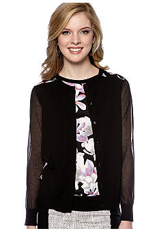DKNYC Long Sleeve Cardigan with Printed Satin Back