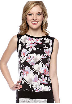 DKNYC Sleeveless Pullover Sweater with Printed Satin Front