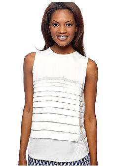 DKNYC Sleeveless Horizontal Pleat Front Top