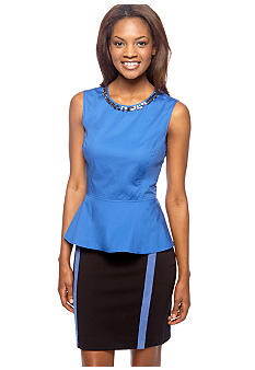 DKNYC Sleeveless Peplum Top with Embellished Neckline