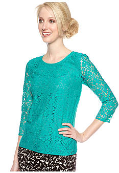 DKNYC Three Quarter Sleeve Lace Blouse with Satin Back